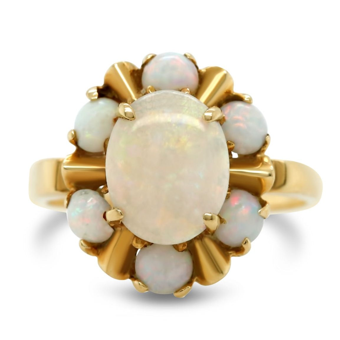 Yellow gold opal estate ring with an opal halo under $500