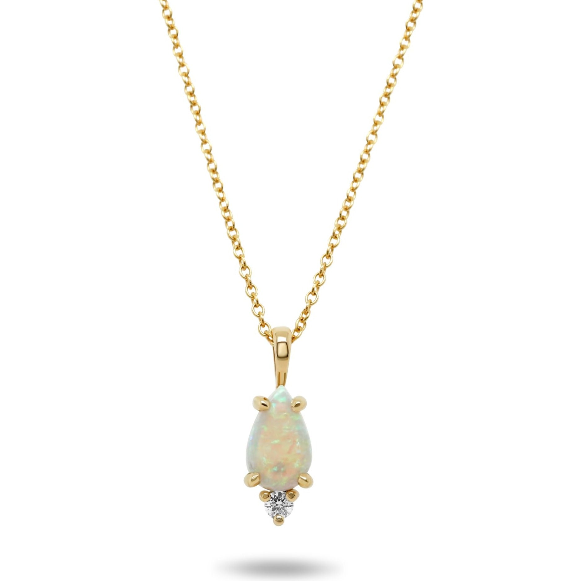 14k yellow gold pear shaped Australian opal and diamond necklace with a 16in chain