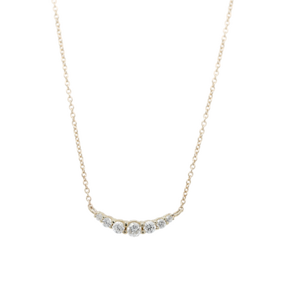 14k yellow gold graduated diamond necklace with round prong set diamonds 16in chain