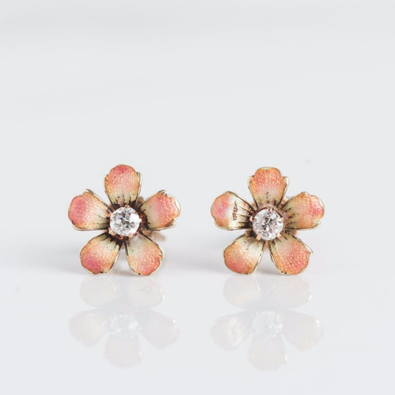 Flower Enamel Diamond Gold Earring