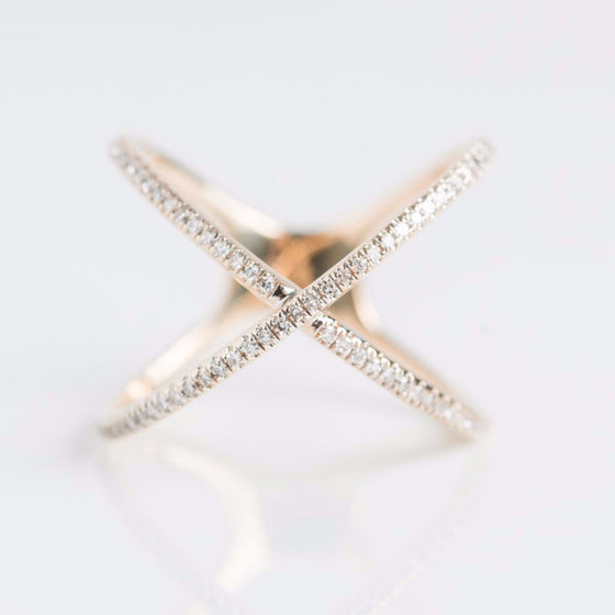 Yellow Gold Multi Diamond X Ring