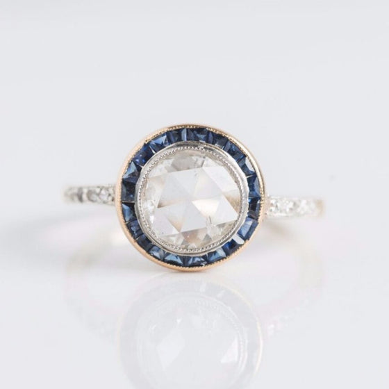 Diamond with Sapphire Halo Solitaire Gold Ring