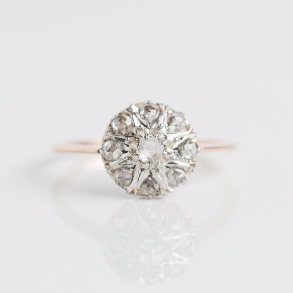 Antique Diamond with Diamond Halo Gold Ring