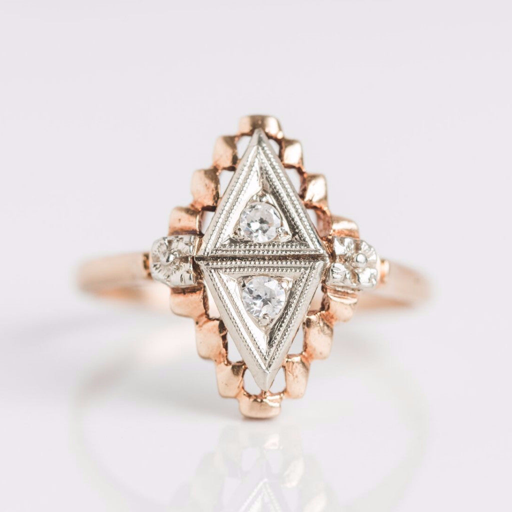 Antique Diamond Shaped Diamond Gold Ring