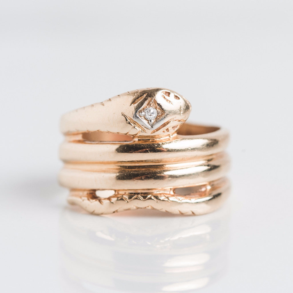 Gold Snake Diamond Band Ring