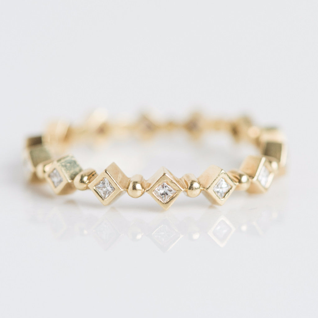 Yellow Gold Diamond Shaped Beaded Band