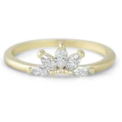 14k yellow, white or rose gold graduated marquise diamond contour band prong set