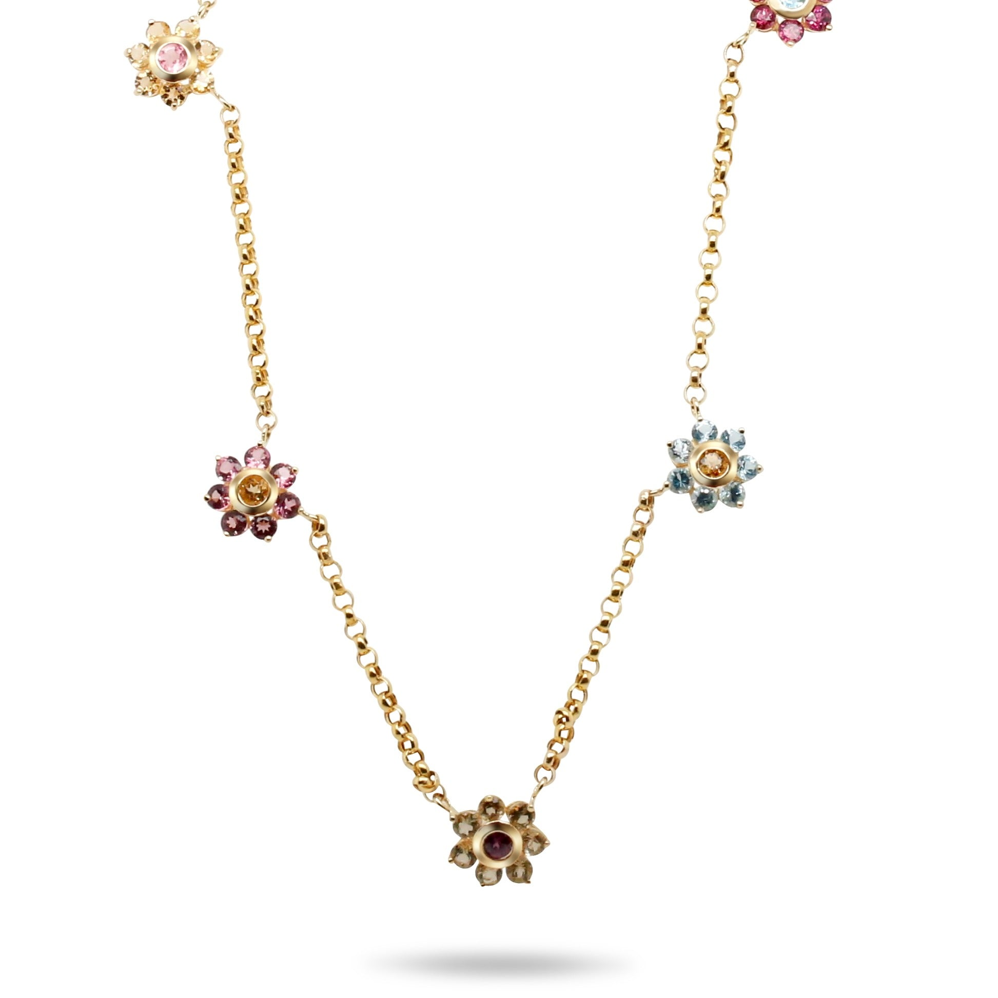 14k yellow gold gemstone flower station estate necklace