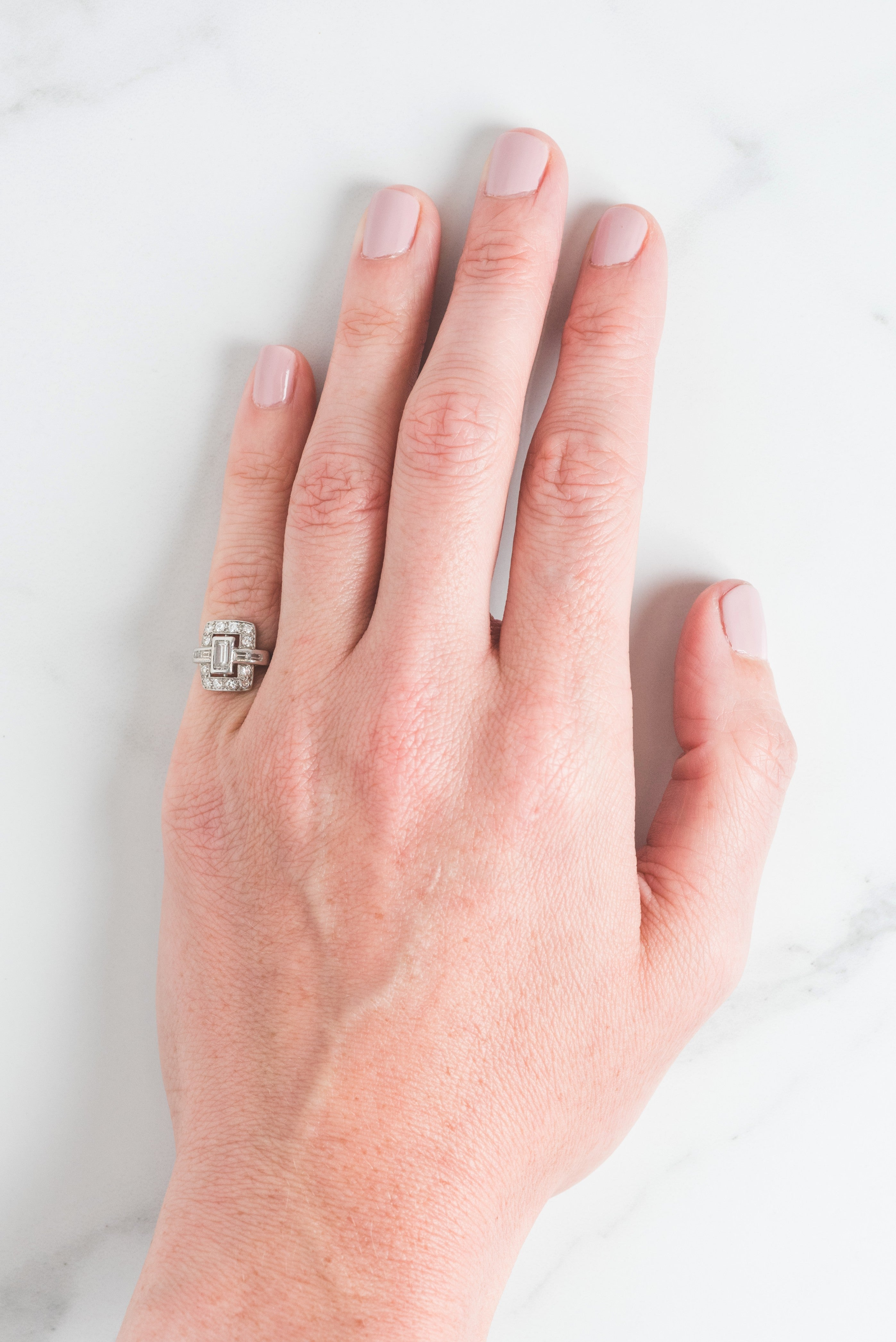 Joyce Ring | Platinum Art Deco Baguette Geometric Engagement Antique ...