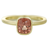 14k yellow gold bezel set red cushion cut spinel ring with milgrain and pretty side view details