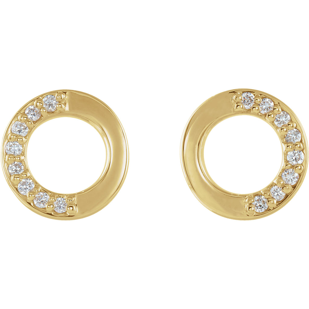 yellow gold accented diamond circle stud earrings available in yellow white and rose gold