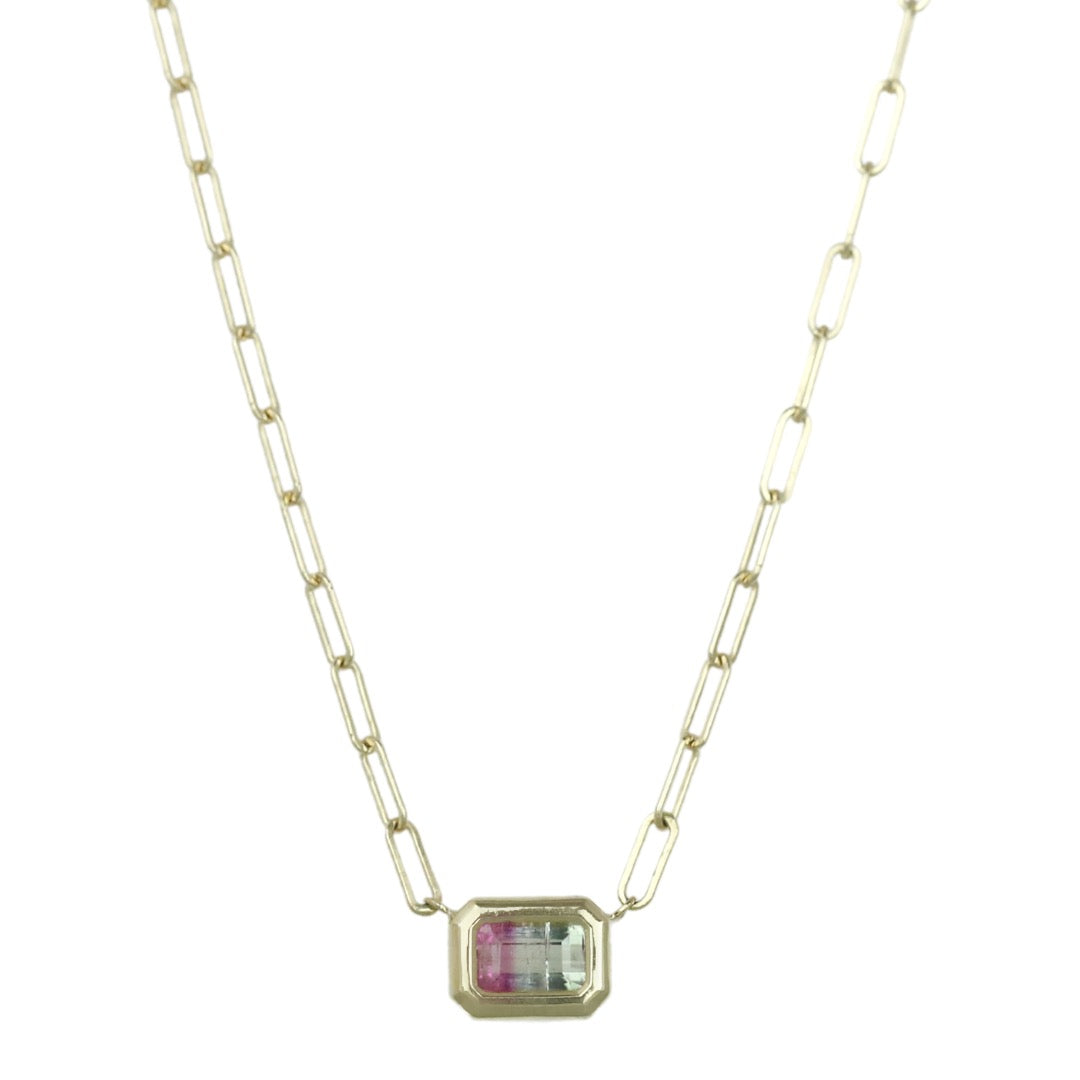 14k yellow gold bi color tourmaline chain link everyday necklace