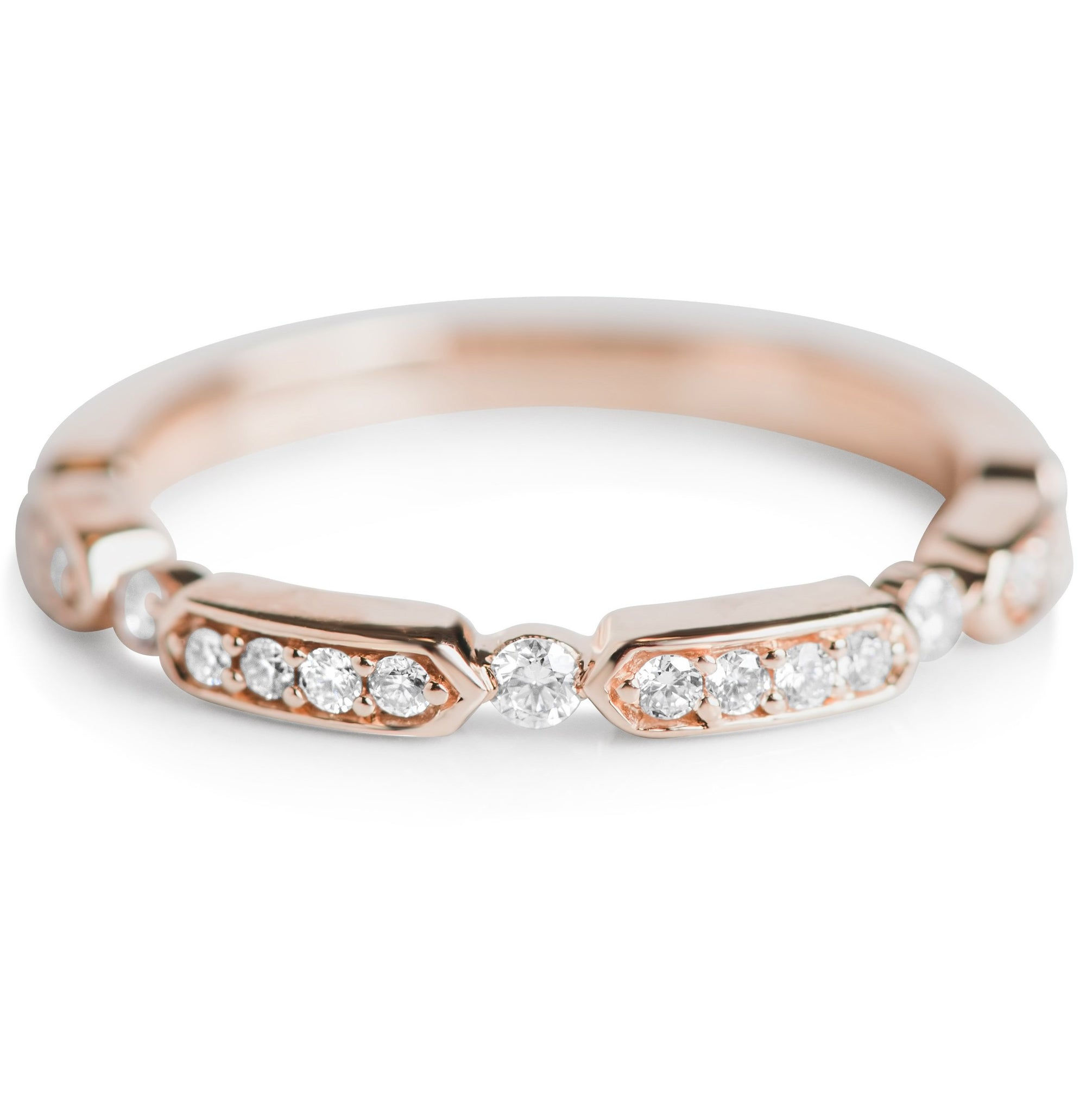 rose gold and white diamond stack ring or wedding band
