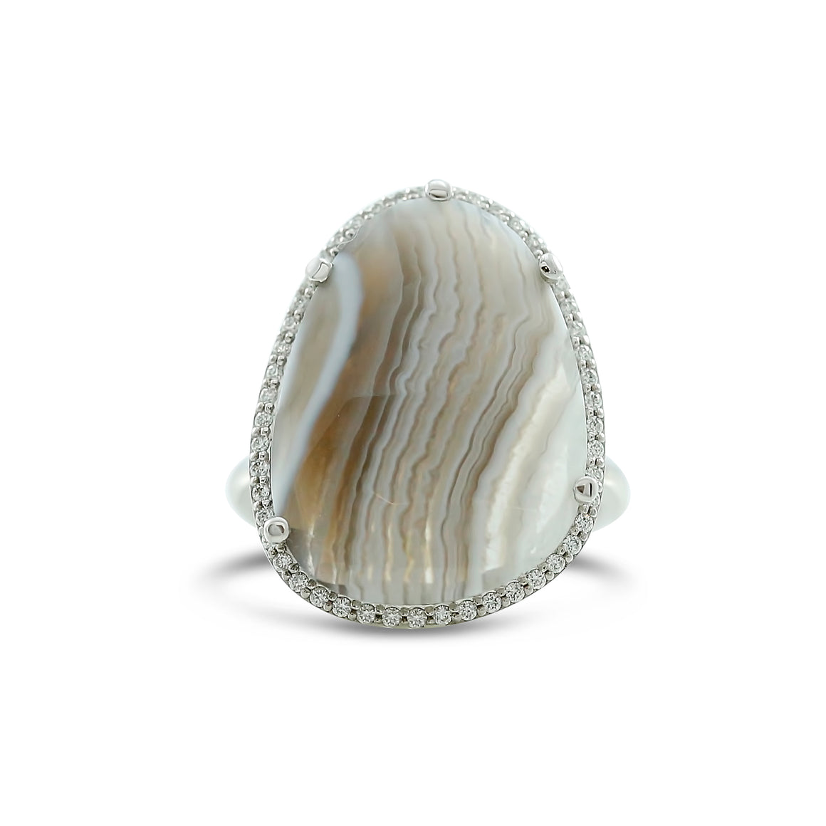 7.60ct agate slice ring with a white diamond halo and a thin white gold band prong set with criss cross details in the under gallery