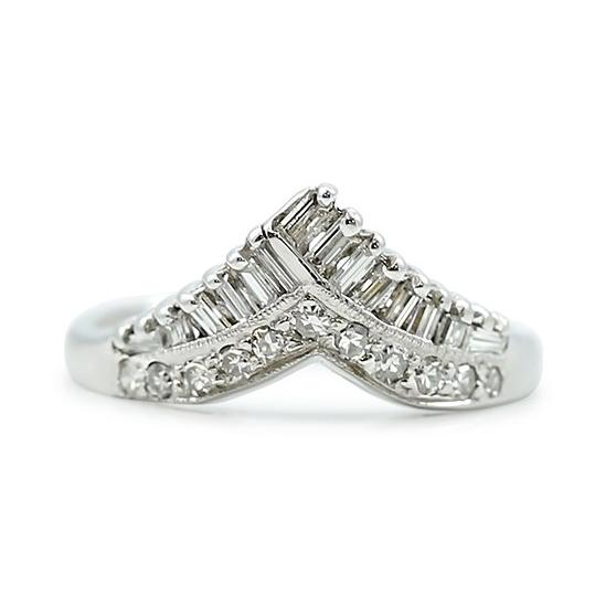baguette and single cut white diamond and white gold contour estate band made circa 1950