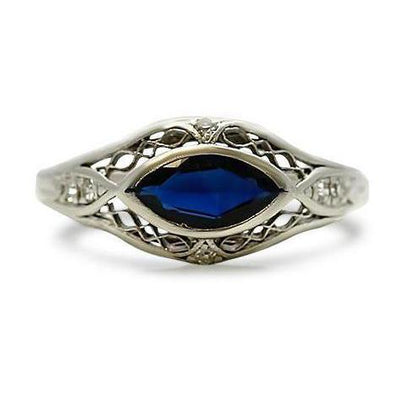 sapphire and diamond estate ring with a platinum band from the Edwardian era