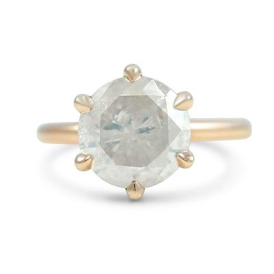 5.0ct very light brown diamond engagement ring with 14k rose gold setting prong set