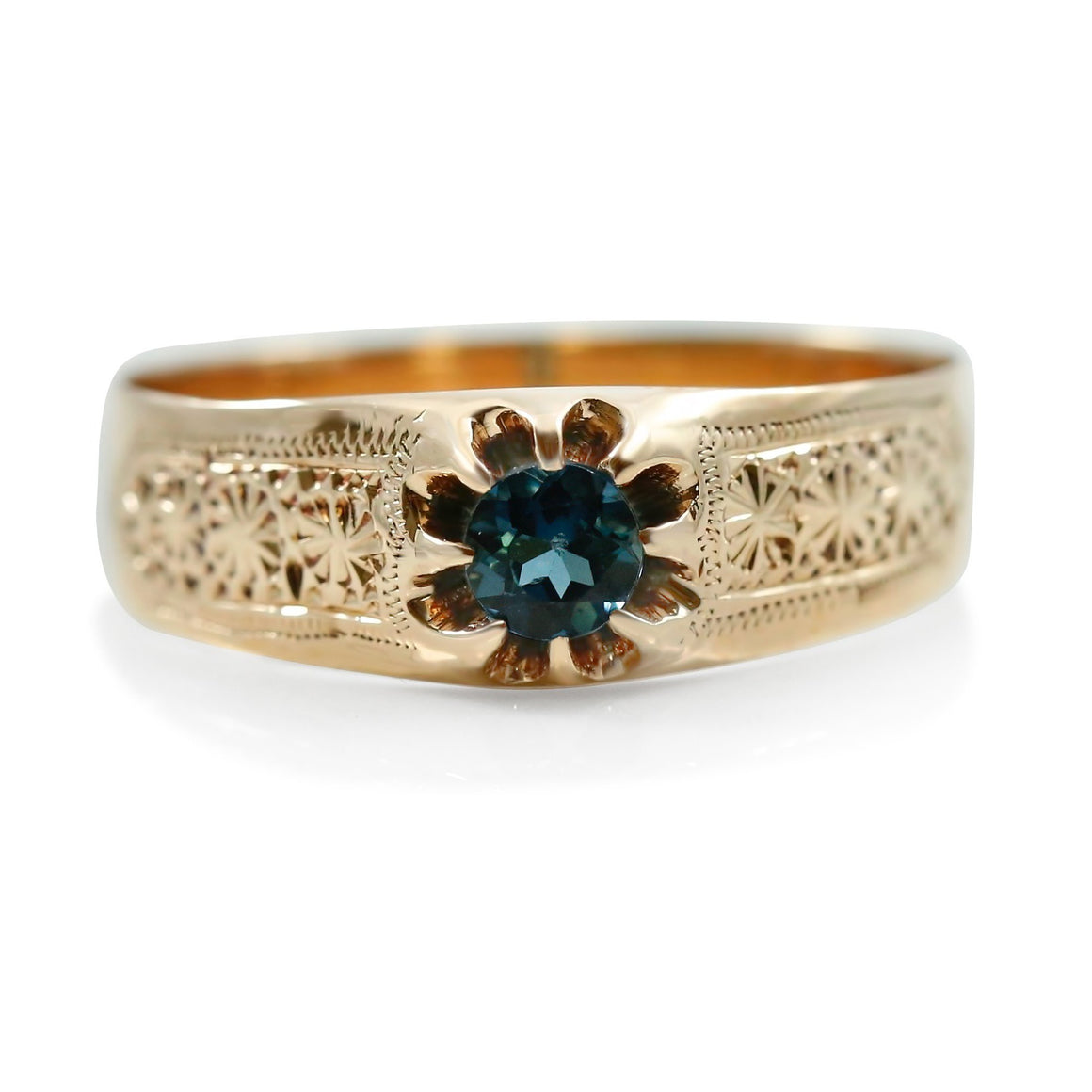 VICTORIAN ESTATE RING WITH A BLUE TOURMALINE CENTER STONE AND ROSE GOLD BAND