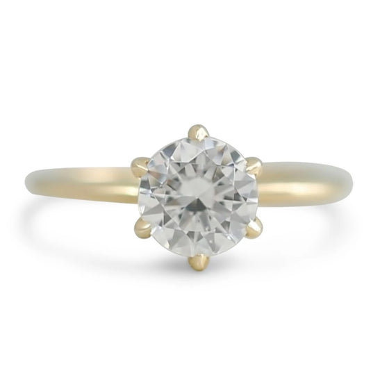 ready to ship diamond engagement ring set with 6 scallop prongs available in 14k yellow, white, rose or peach gold and platinum