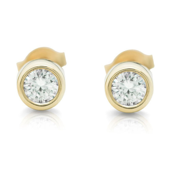 YELLOW GOLD BEZEL SET DIAMOND POST EARRINGS