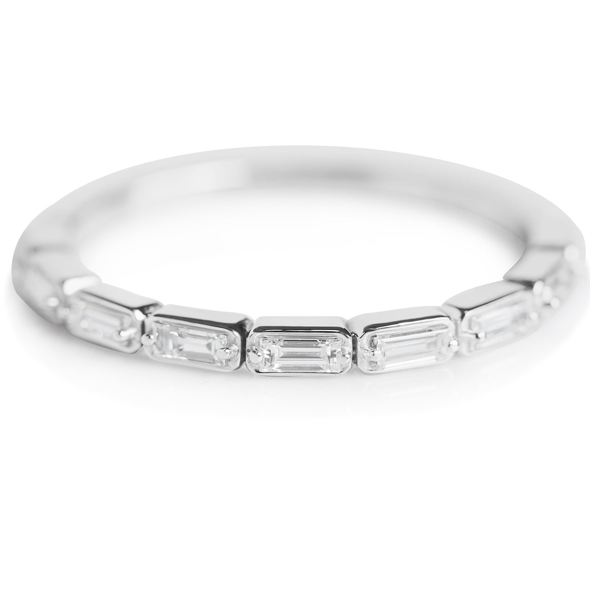 BAGUETTE DIAMOND WEDDING BAND OR STACK RING WITH WHITE GOLD BAND