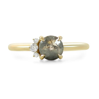 14k yellow gold round gray rose cut prong set diamond ring with a cluster of white side diamonds