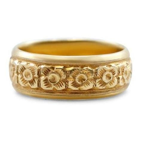 rose-yellow gold estate chunky wedding band with hand engraved flower pattern