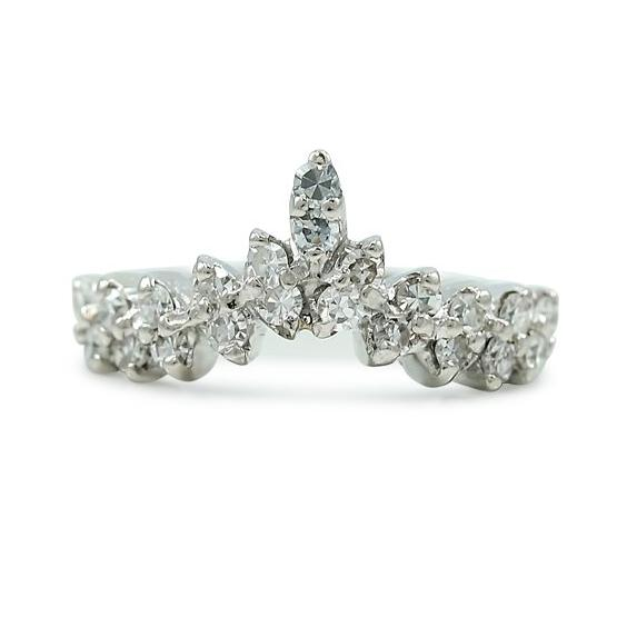 single cut white diamond and white gold estate ring created circa 1950