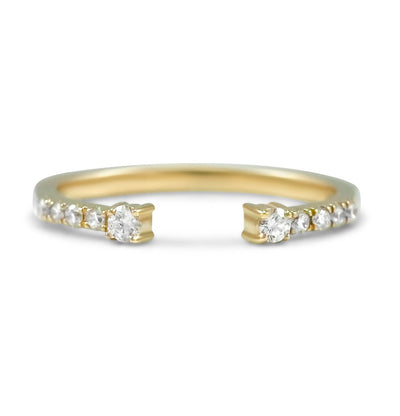 open diamond stackable wedding band 0.18tcw diamonds available in 14k yellow, rose or white gold