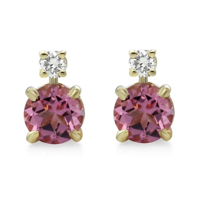 pink tourmaline and white diamond stud earrings with claw prongs and yellow gold backs