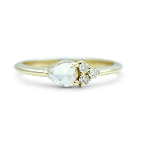 east west set rose cut pear diamond ring with a cluster of round diamonds engagement ring or right hand ring