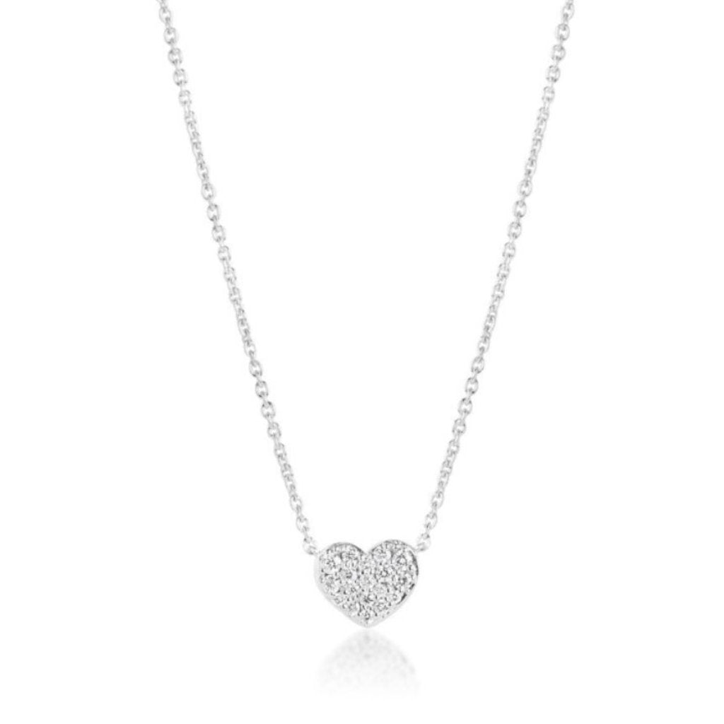 HEART PENDANT NECKLACE IN WHITE GOLD