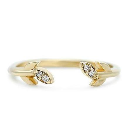 yellow, rose, or white gold leaf band with white diamonds wedding band or stack ring