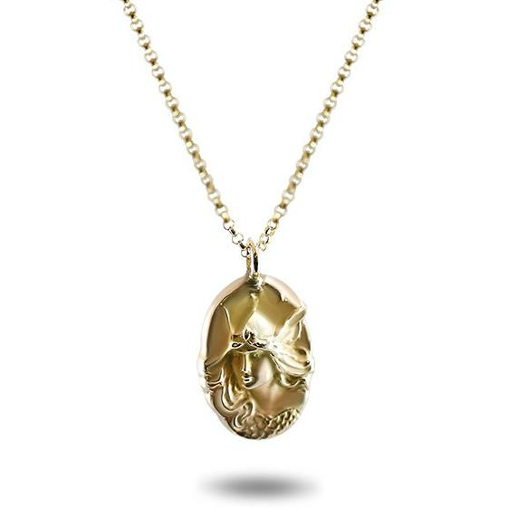 14k yellow gold lightweight art nouveau estate pendant with Athena on front