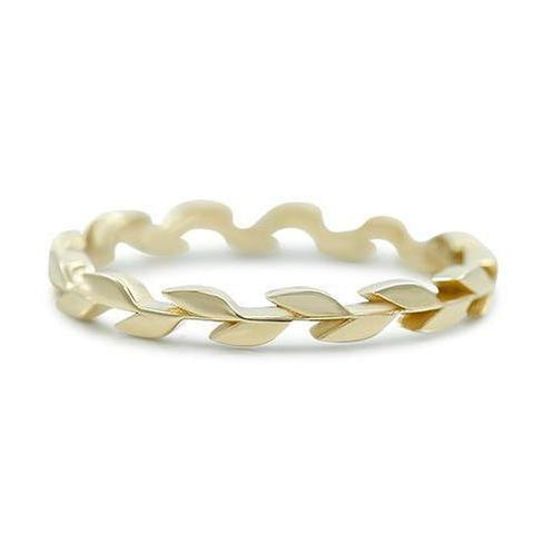 yellow gold leaf wedding or stack band