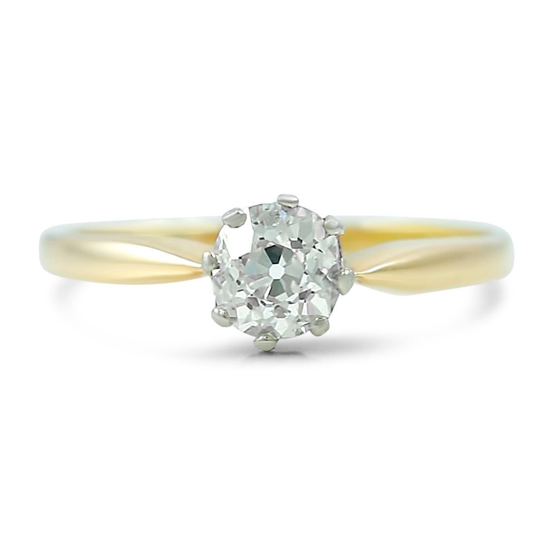 14k yellow gold and platinum solitaire old mine cut diamond antique engagement ring with tapered setting
