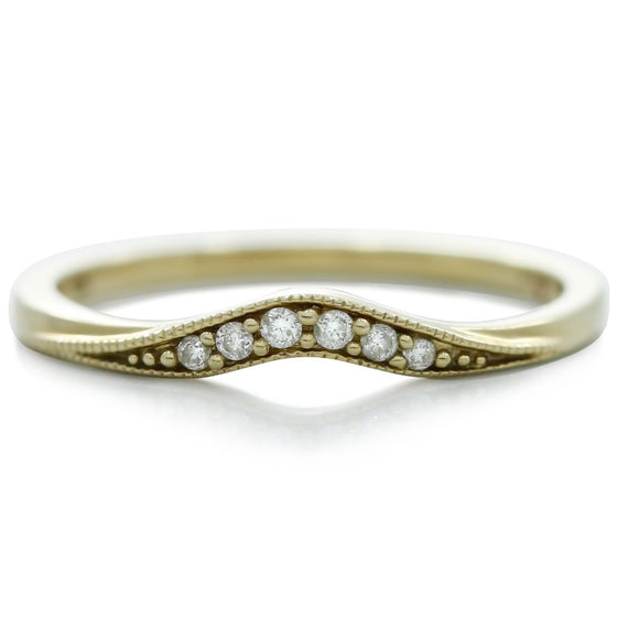 Estate wedding band with diamonds and yellow gold and contouring that will fit with hard to match engagement rings