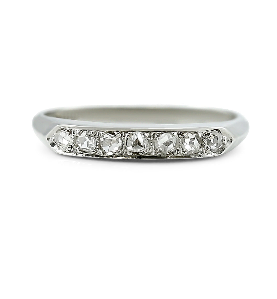 14k white gold channel set rose cut diamond estate wedding band with knife edge details