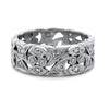 Platinum chunky estate band with rose cut diamonds and an engraved flower pattern