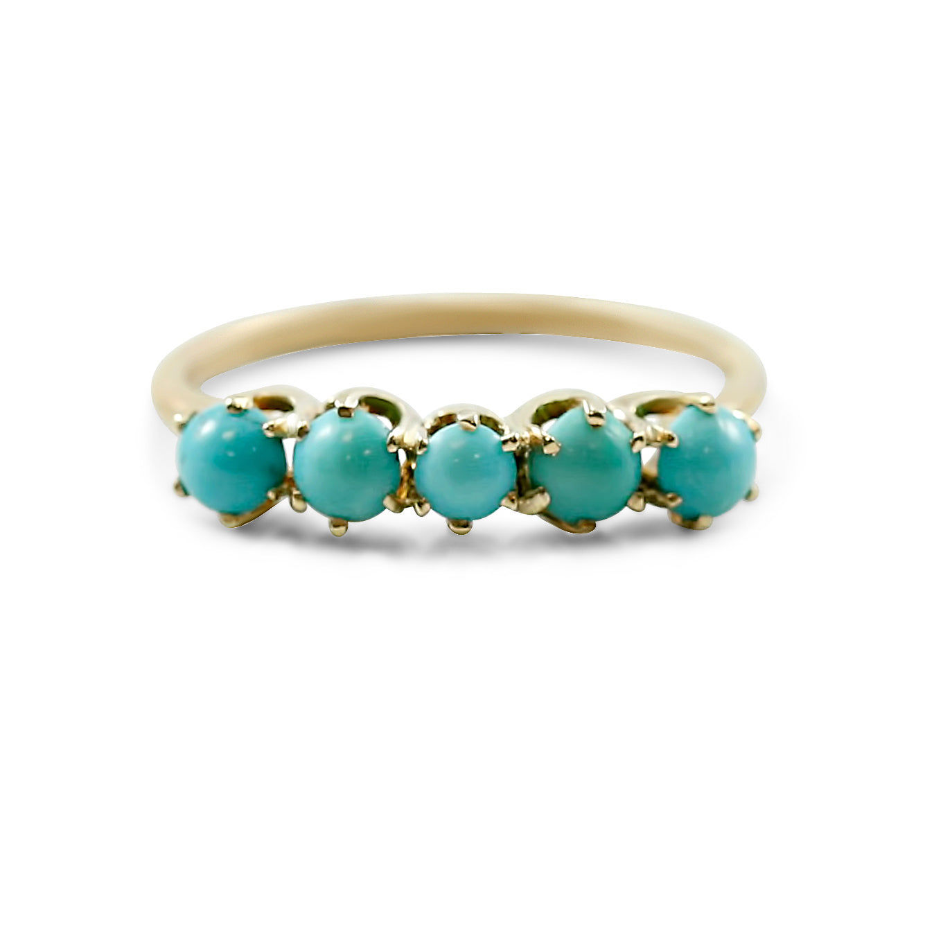 14K yellow gold turquoise estate ring with five round cabochon cut turquoise stones prong set