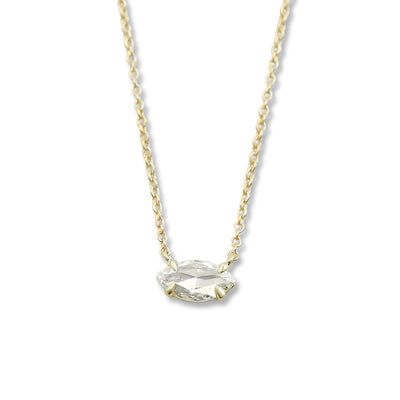 14k yellow gold rose cut marquise shaped diamond necklace with a 16in chain