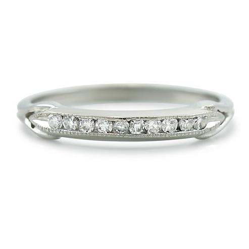 channel set diamond wedding estate band with white gold