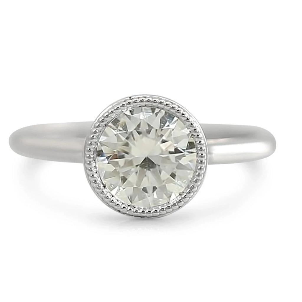 Bezel set diamond engagement ring ready to ship milgrain details various metals and shapes available