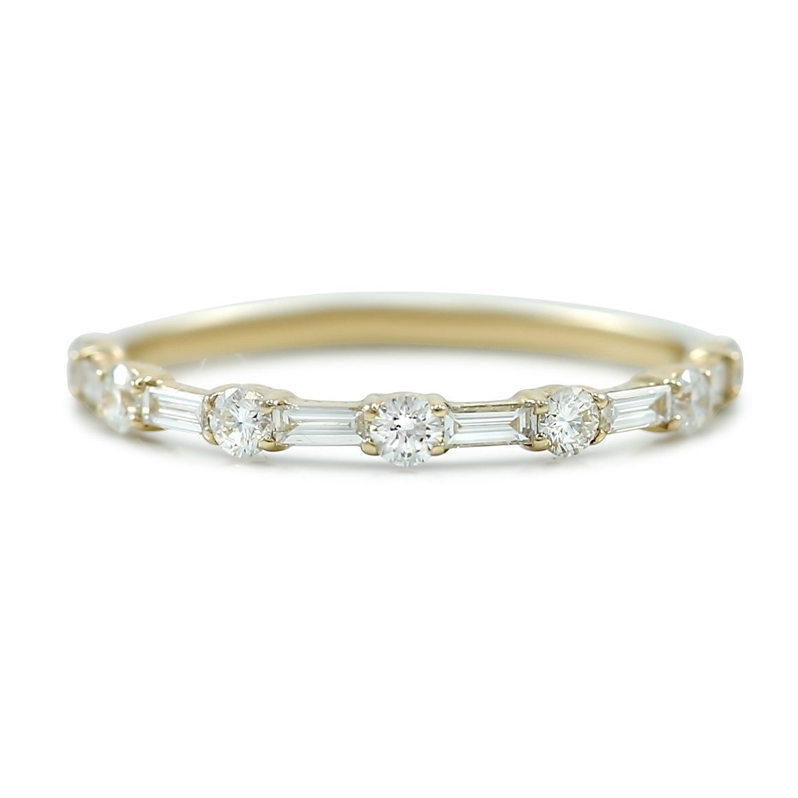 14k yellow white or rose gold baguette and round diamond wedding band prong set