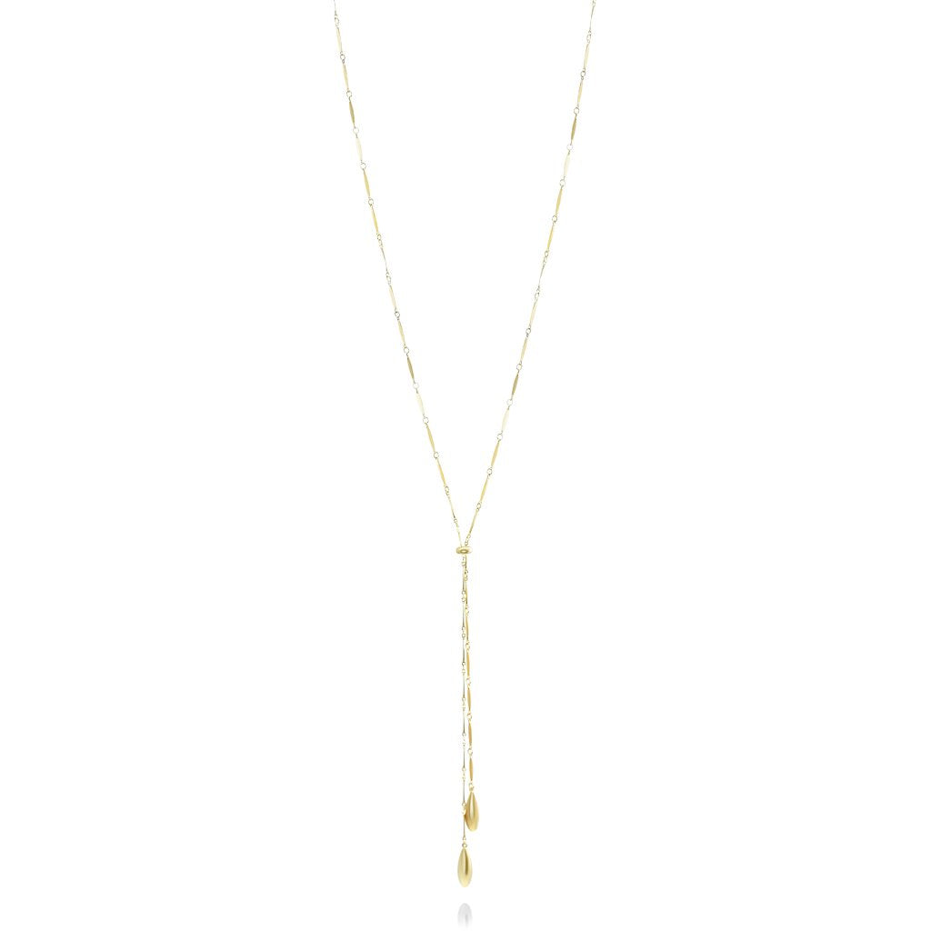 sterling silver gold plated lariat necklace 36in long