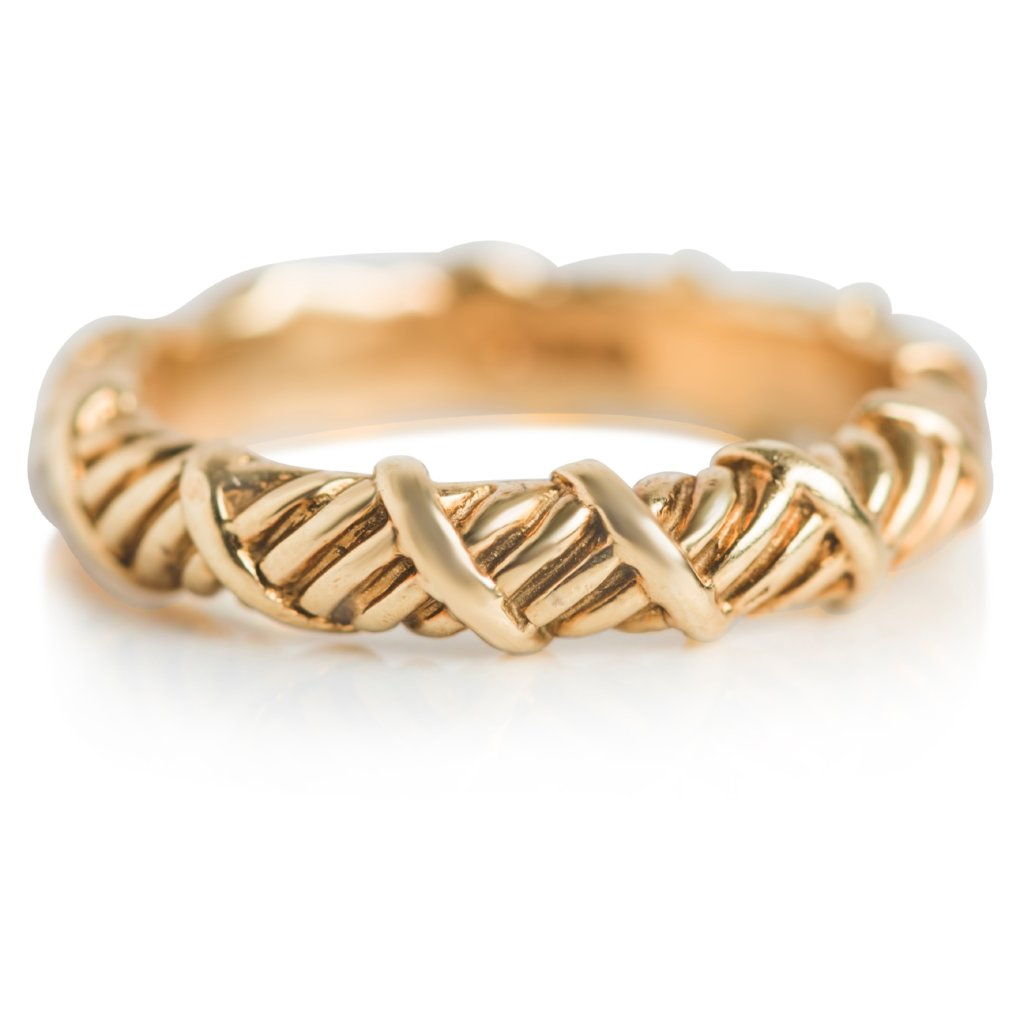 yellow gold estate stack ring