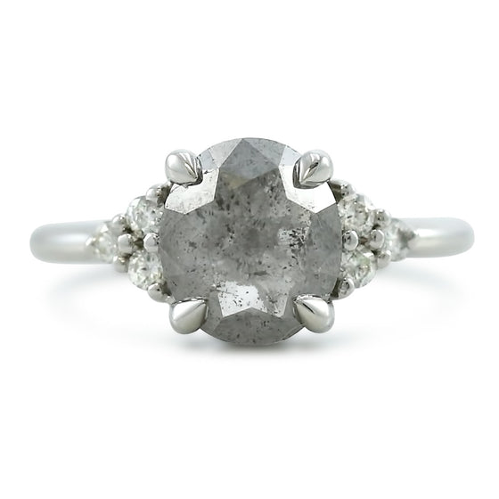 Rose cut oval gray diamond engagement ring with white diamonds prong set in 14k white gold