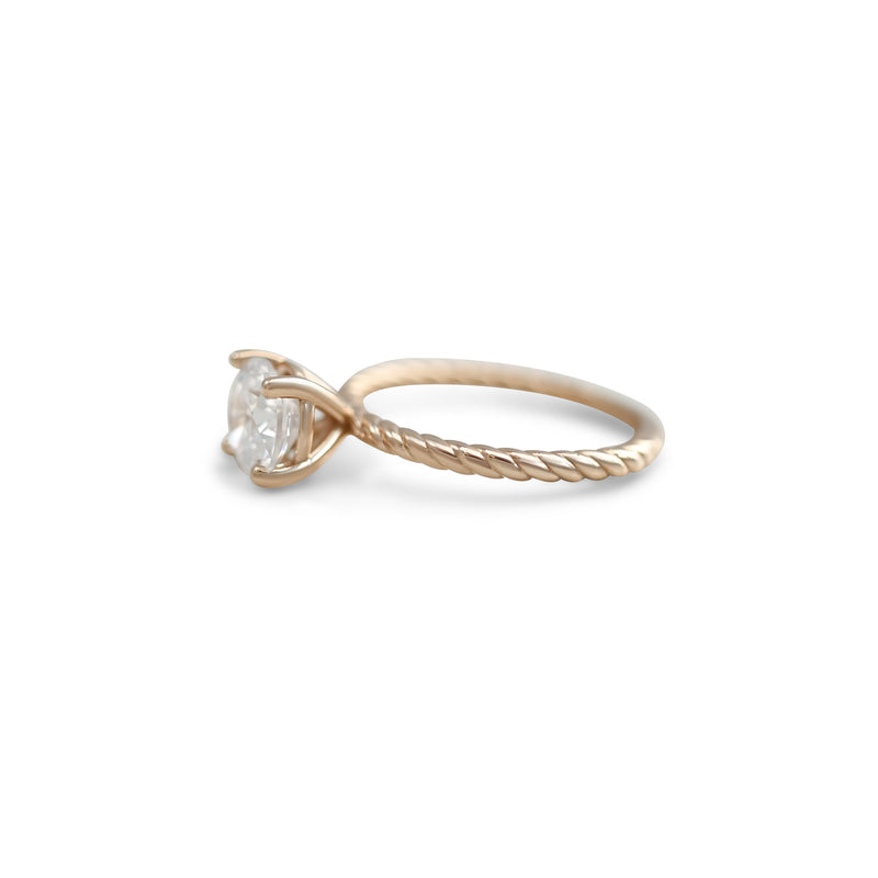 ready to go basket set diamond engagement ring with a rope band available in 14k yellow, rose, white or peach gold and platinum