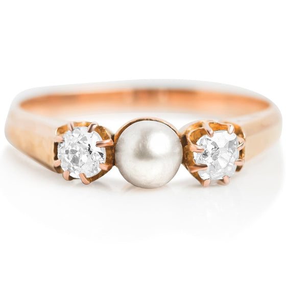pearl and diamond estate right hand ring with yellow gold