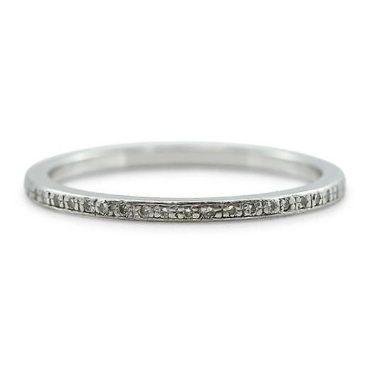platinum single cut diamond estate wedding band
